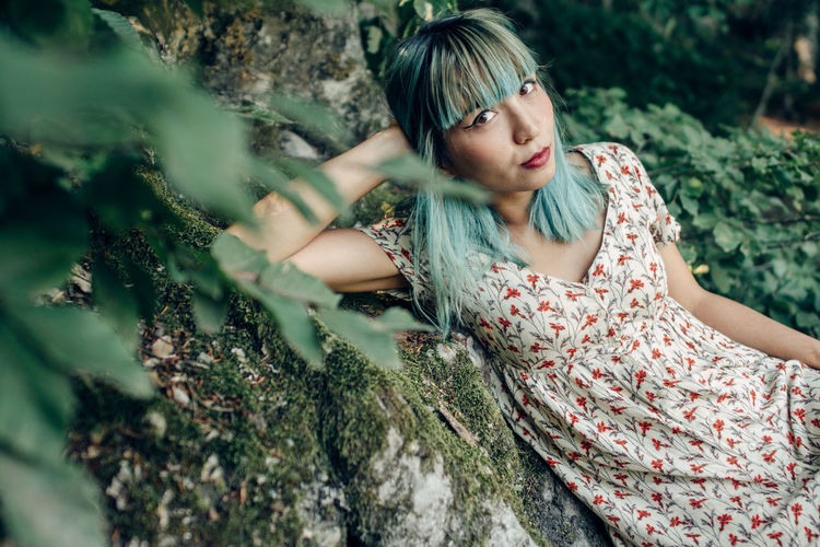 EyeEmNewHere EyeEmReady Green Hair Model Nature One Person People Tree Young Women Fresh On Market 2018