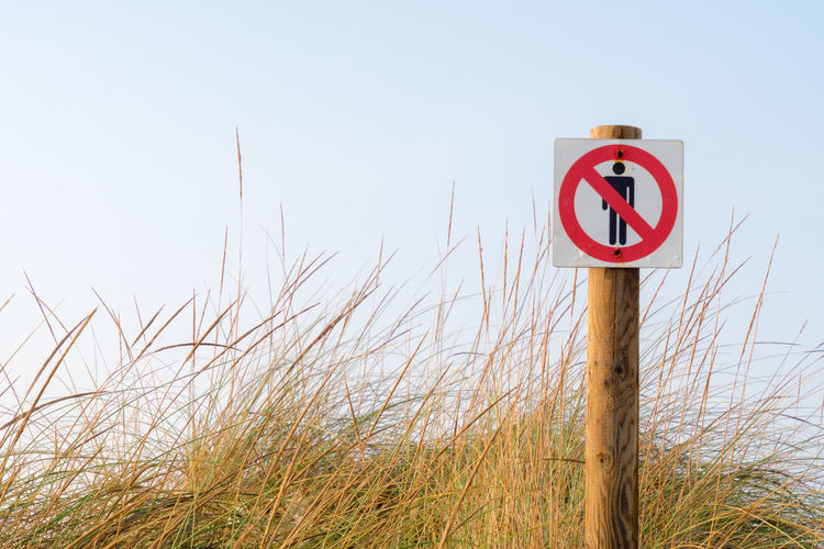 Forbidden No Entry Beach Beauty In Nature Blue Clear Sky Communication Day Grass Guidance Horizon Over Water Nature No Entry Sign No People Outdoors Red Road Sign Sea Sky Son Serra De Marina Wooden Post