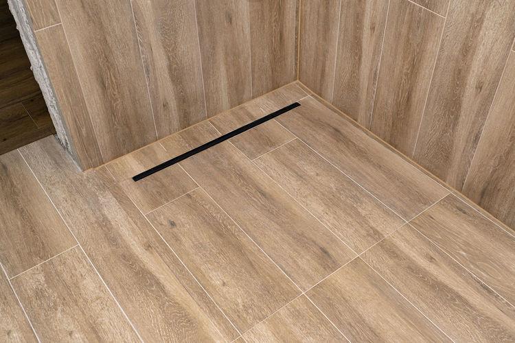 High angle view of empty hardwood floor