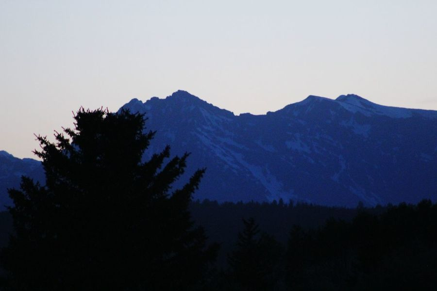 Teton Mountains Low Light Photography Wyoming Experimenting With Different Effects Juniper Trees Distant Background