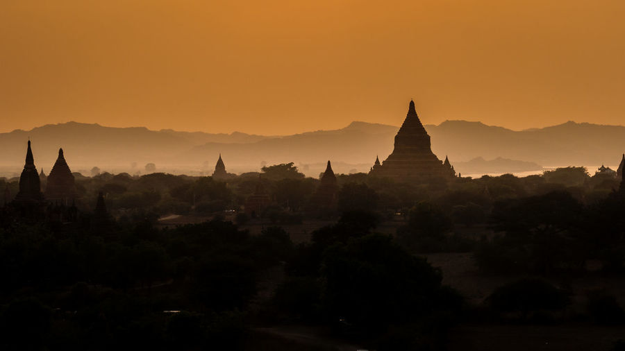 Bagan Sunset Architecture Bagan Burma Famous Place Landscape Landscape_photography Myanmar No People Orange Color Pagan Place Of Worship Scenics Spirituality Sunset Sunset_collection Temple Temple - Building Tourist Tourist Attraction  Tranquil Scene Travel Destinations Travel Photography UNESCO World Heritage Site