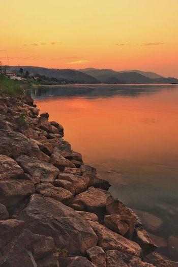 Sunset,River,Lan