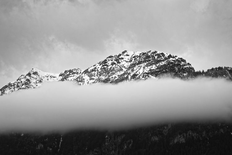 Mountain behind clouds Mountain Sky Nature Mountains Berge Alpen Alps Bavaria Bayern Blackandwhite Black And White Monochrome Snow Winter Cold Temperature Snowcapped Mountain Mountain Peak Mountain Range Forest Trees Cloud - Sky Clouds Contrast Moody Sky Fine Art Photography