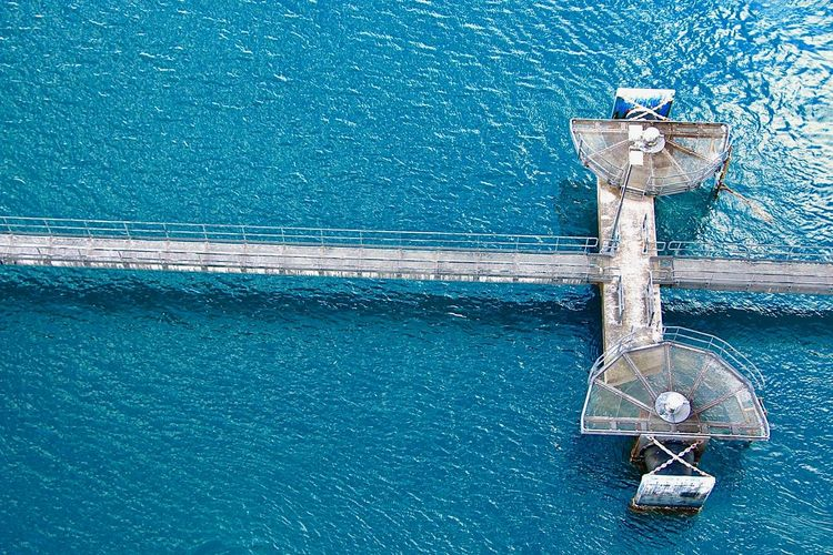 Aerial View Of Pier On Sea