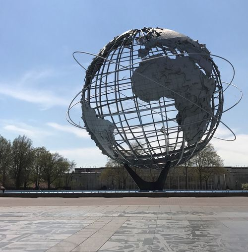 Unisphere Park Globe Sky No People Day Sphere Sculpture Art And Craft Low Angle View Geometric Shape Cloud - Sky Architecture Circle Ball