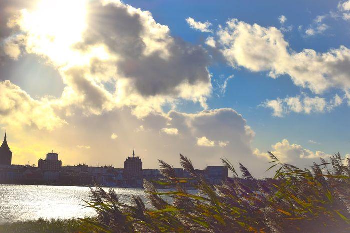 Autumn Autumn Colors Beautiful Nature Cloud Cloudy Rostock Rostock 2017 Skyline Water Reflections Autumn🍁🍁🍁 Beauty In Nature Blue Sky Cloud - Sky Clouds Clouds And Sky No People Port Skyline Rostock Water