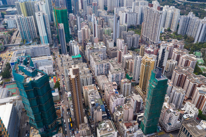 Aerial view of modern buildings in city