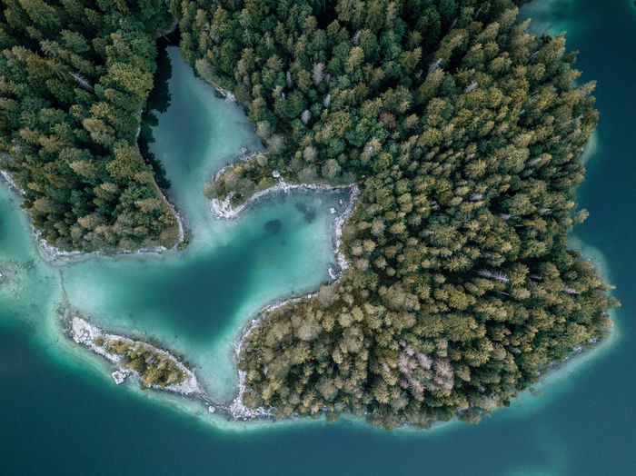 Lake Eibsee and huge forest and hidden lakes seen from above out of drone after sunset Archipelago Drone  Eibsee Landscape_Collection Aerial View Beauty In Nature Day Forest Germany Landscape Nature No People Outdoors Sea Water