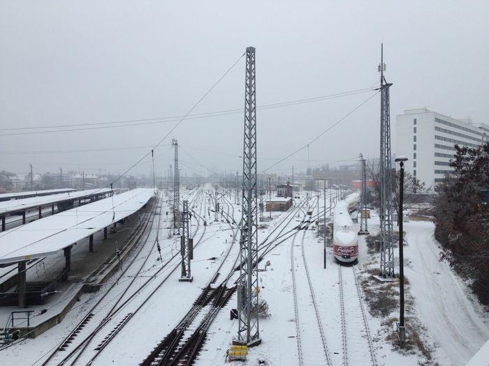 Berlin Berlin Lichtenberg DDR East Berlin, Express Train Rails Snow Station Winter