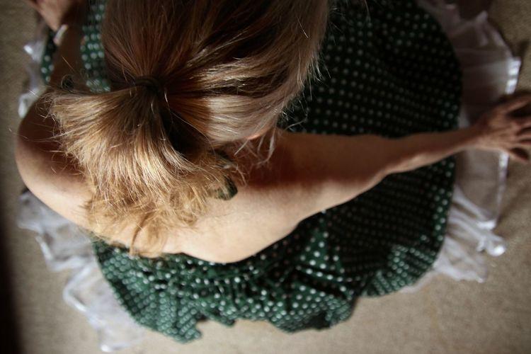 High angle view of woman