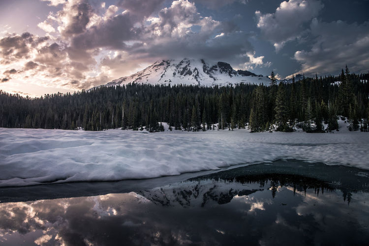 Half Ice Half Fire Amazing View Awesome Cloud - Sky Enjoying Life Exploring Forest Ice Lake Landscape Mount Rainier Mountain Nature Outdoors Reflection Snow Snowcapped Mountain Sunset Tranquility Travel Travel Destinations Water Wilderness