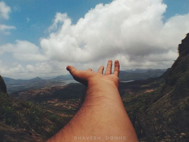 Hello nature. Human Hand Human Body Part Human Finger Cloud - Sky Personal Perspective One Person People Day Sky Adults Only Nature Outdoors Only Women Mountain Adult One Woman Only Close-up