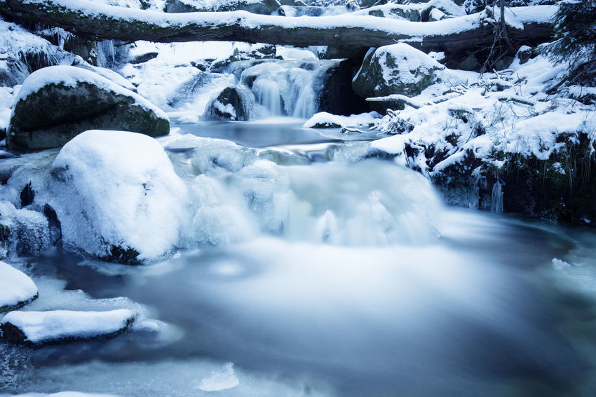 EyeEm Best Shots Flowing Stream Flowing Water Frozen Ice Nature Tadaa Community Tourist Attraction  Winter Harz Harz National Park Long Exposure Mountain Stream No People Scenic Landscapes Scenics Snow Snow Covered Landscape Vacation Waterfall