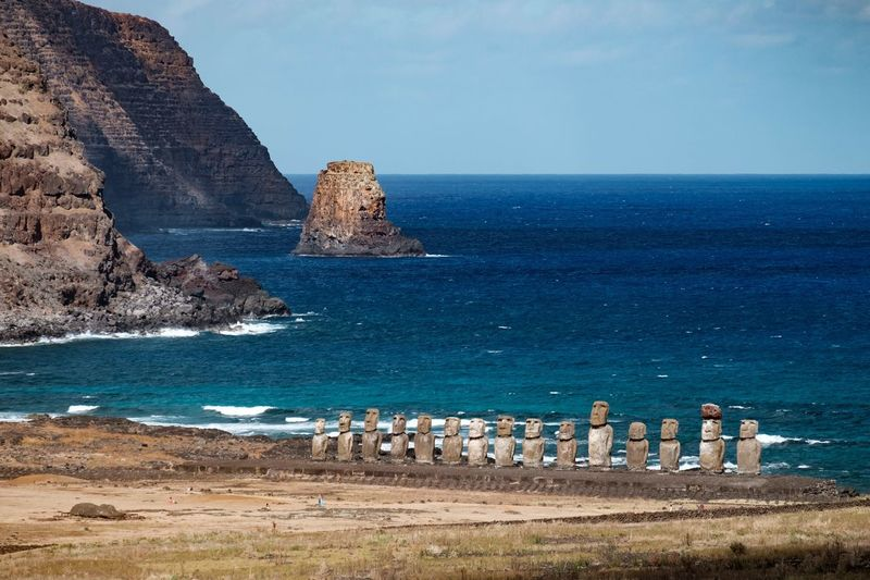 Moai by the Sea Moai Easter Island Nature Landscape Polynesian Island Statue Ruins Pacific Culture Chile Ocean Sea Cliffs