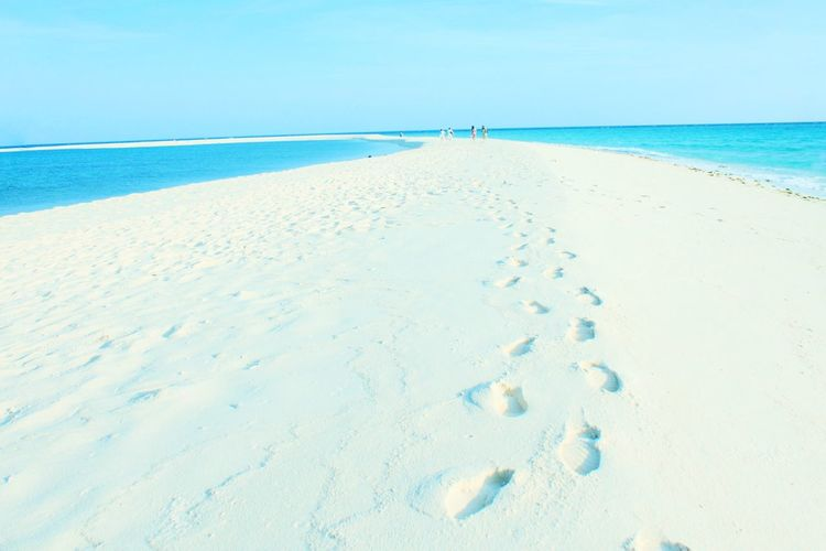Footprints in the sands Travel Leisure Photography Travel Destination Leisure Activity Landscape_Collection Landscape Landscape_photography Sand Beach Sea Blue No People Sky Water Nature Horizon Over Water Scenics Tranquility Summer Clear Sky Beauty In Nature Landscape Outdoors Backgrounds