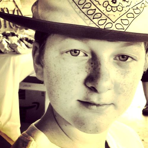 Myson Love BlueEyes Huskyeyes Cowboy Hat Bcoolman Freckles Portrait Looking At Camera Real People Close-up Young Adult One Person Indoors  Day