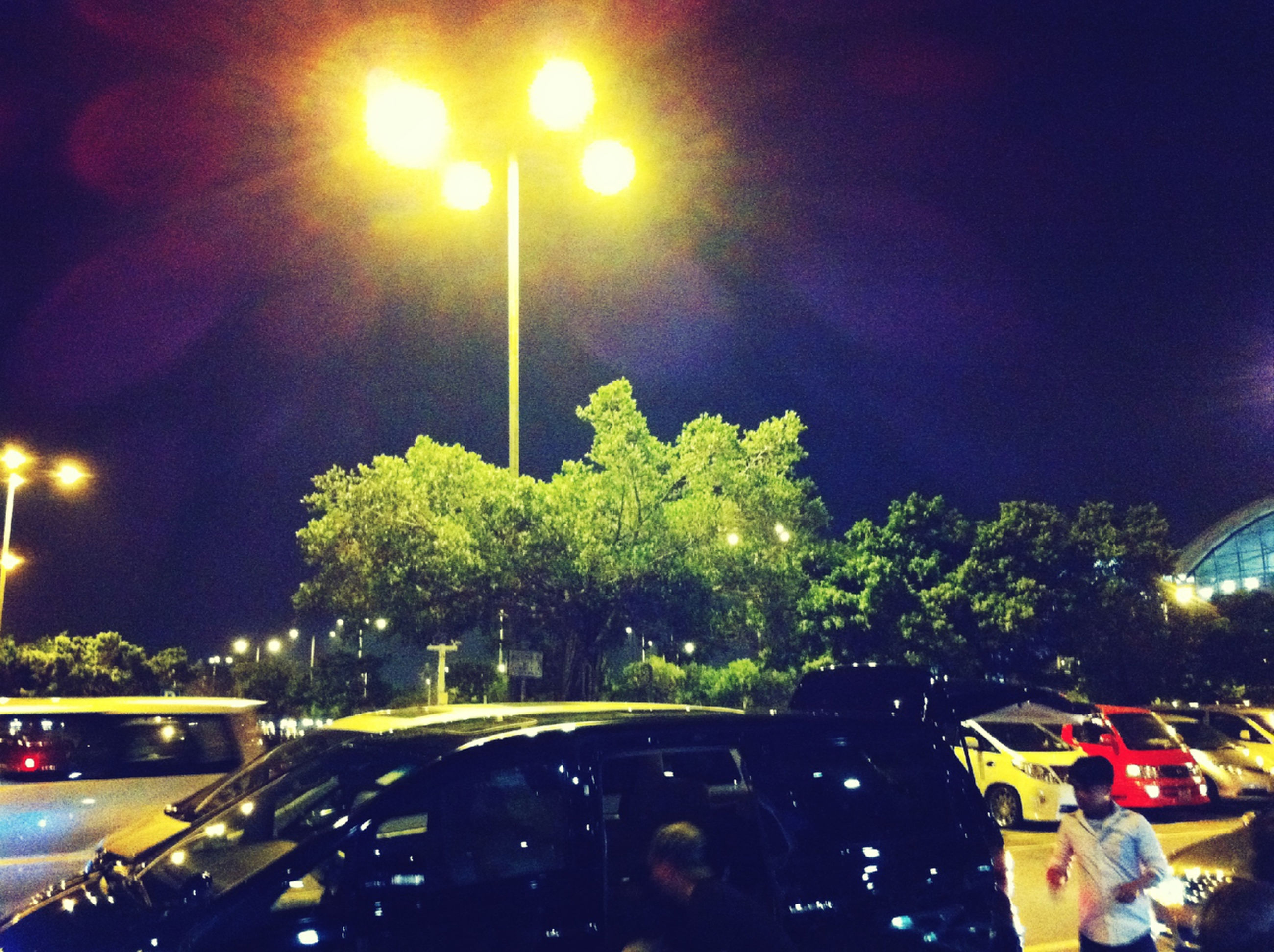 illuminated, night, street light, transportation, lighting equipment, land vehicle, mode of transport, car, tree, street, road, men, incidental people, sky, light - natural phenomenon, lens flare, lifestyles, outdoors, glowing