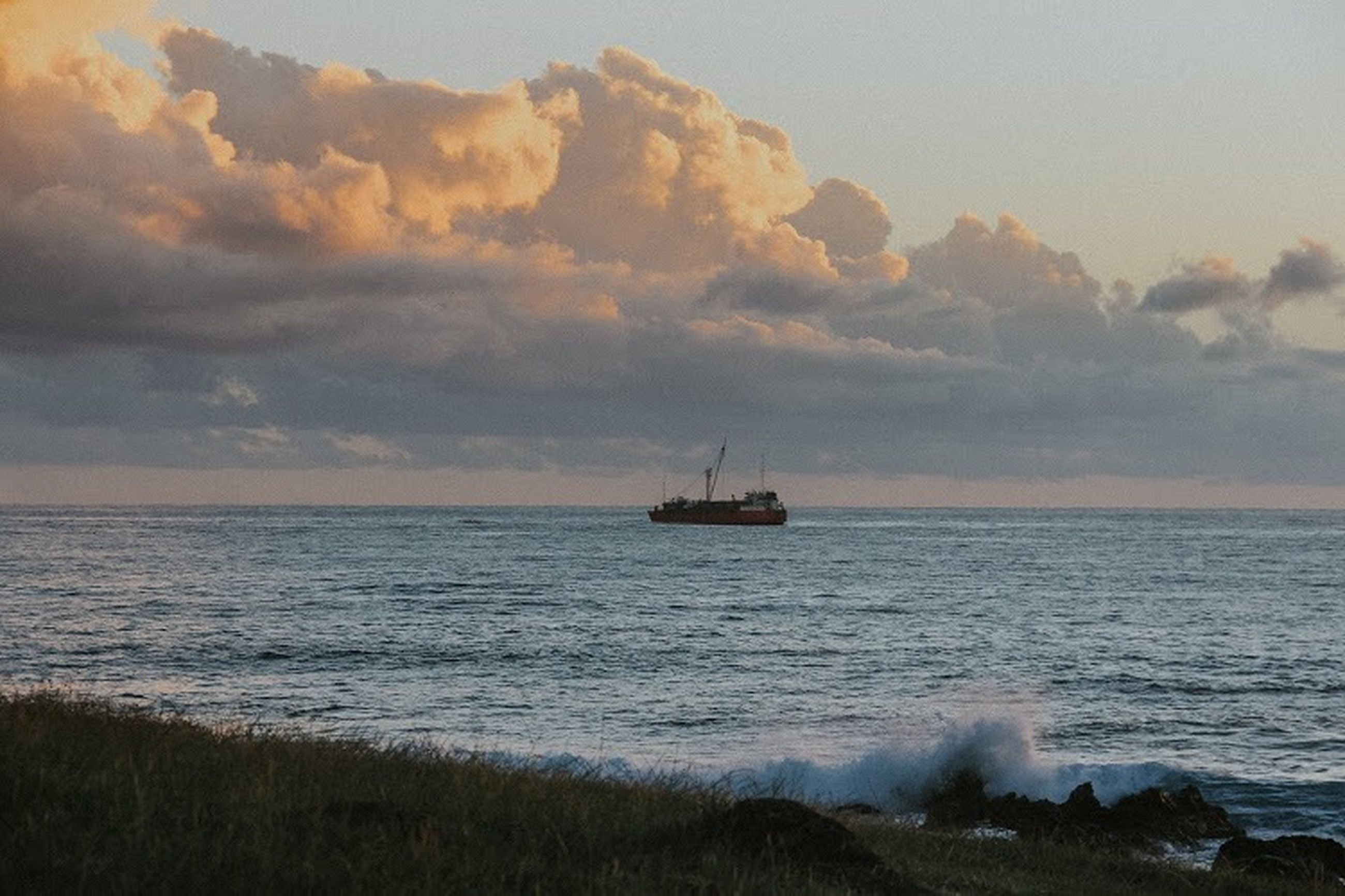 sea, water, sky, cloud - sky, nautical vessel, horizon over water, horizon, transportation, beauty in nature, scenics - nature, sunset, nature, mode of transportation, ship, no people, land, beach, tranquil scene, tranquility, outdoors, sailboat