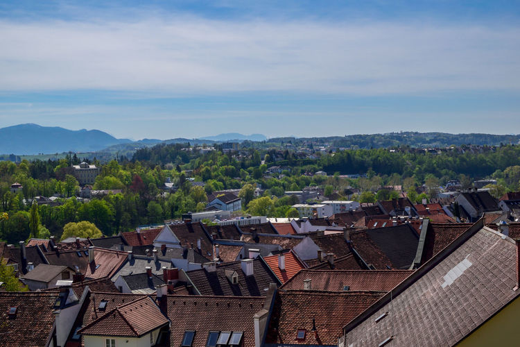 Landscape shot Steyr in Upper Austria / Austria. Aerial view of the city Roof Built Structure Architecture Building Exterior Building Residential District Mountain House Sky Nature No People Cloud - Sky Day Outdoors High Angle View Tree City Town Mountain Range Landscape Cityscape Roof Tile TOWNSCAPE