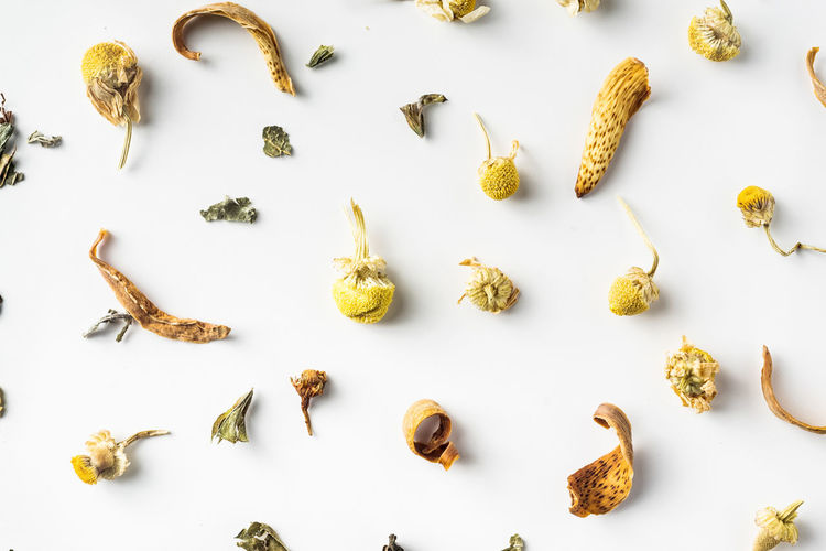 High angle view of food over white background
