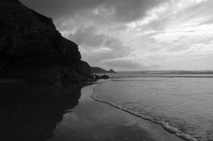 Newgale Pembrokeshire Coast Beach Beauty In Nature Coast Outdoors Out For A Walk No People Blackandwhite Black And White Pembrokeshire Coastpath Nature Day Tranquil Scene Sea And Sky Sea Seaside Seascape