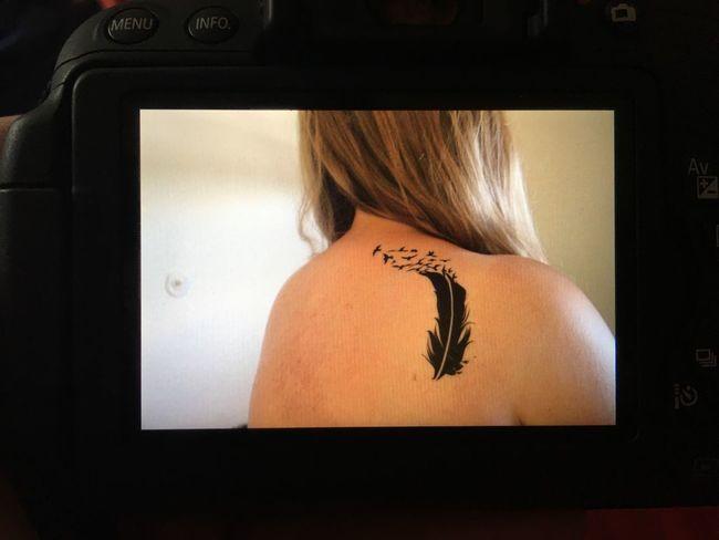 Tattoo ❤ Spiegelreflexkamera Black Feder Vogel My First Tattoo! Hair EyeEmNewHere