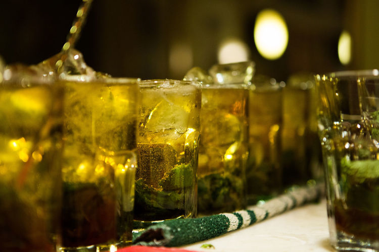 Row Of Mojitos Served On Table