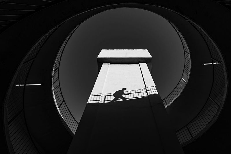 EyeEm Best Shots Beautiful Love EyeEm Gallery Built Structure Architecture Low Angle View Day Geometric Shape Occupation Circle Staircase Shape Silhouette Railing Industry Indoors  Sky Spiral Staircase Sunlight Tower Directly Below