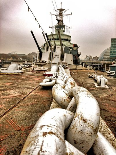 Chain Chains Anchored Anchor Chain HMS Belfast London London Tourism Royal Navy National War Museum Boats Warship Warship Cannons