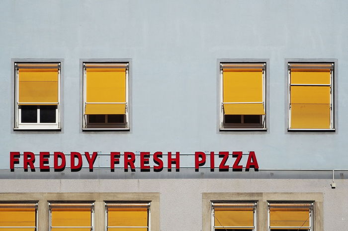 Architecture Building Exterior Day Façade Pizza Signs Windows Paint The Town Yellow Colour Your Horizn