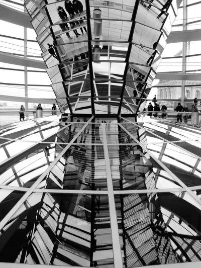 Low Angle View Of People In Reichstag