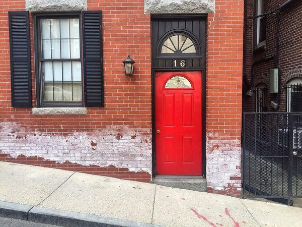 Red Building Exterior Built Structure Architecture Door Outdoors Day No People City Urban Brick Building Bricks Sidewalk Concrete Backgrounds Sunny Simplicity Moment Of Zen Power