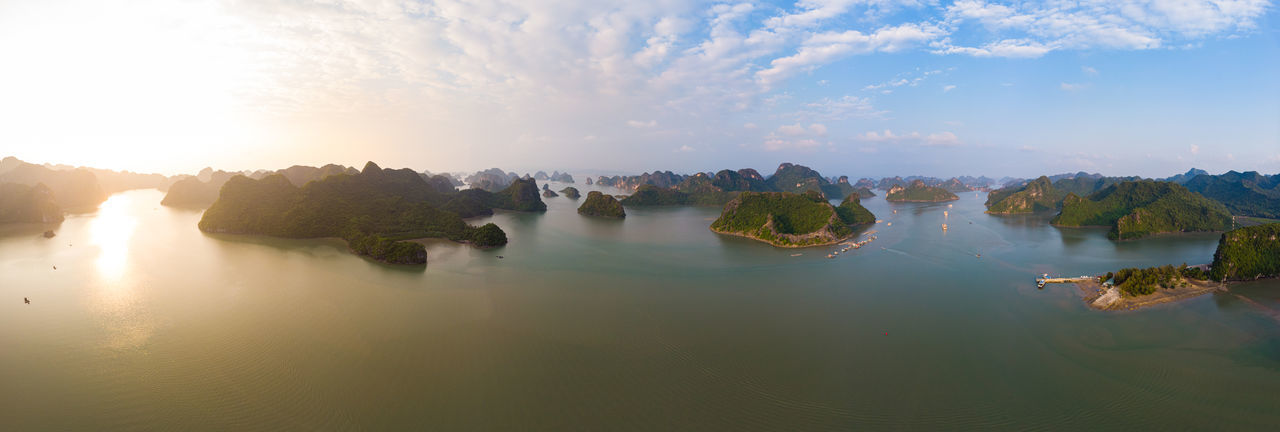 Panoramic view of rocks in water against sky