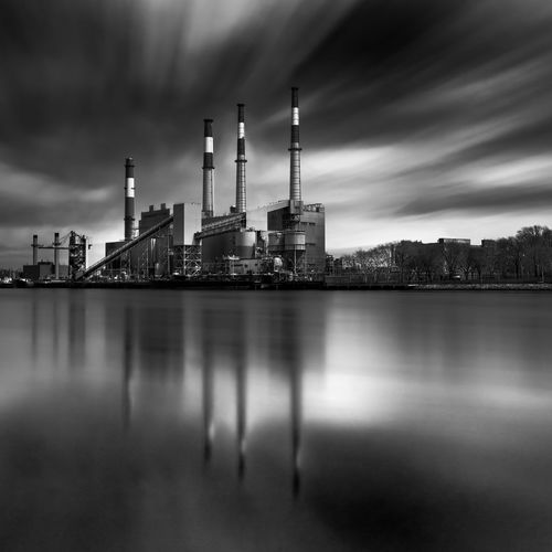 Thearchitect-2016-eyeemawards Tall - High Built Structure Architecture Side By Side Repetition Long Exposure Blackandwhite River Smooth Waters Industryporn Factory Cloudporn East River, NYC Reflections Fine Art Photography