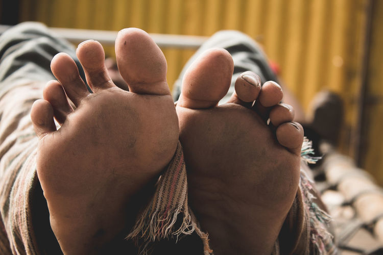 Low section of person with barefoot