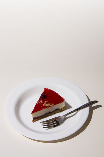 Close-up of cake on plate against white background