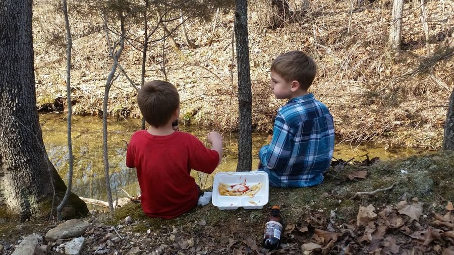 Sitting Picnic Eating Lsughing Tired Toddler  Gravel Road Love 💝 Creek Bank Missouri Ozarks United States 💚❤ Best Friends. 💙💜 Childhood Child Boys Togetherness Playing Shadow Bonding Preschooler Friend Children Kid Young Personality