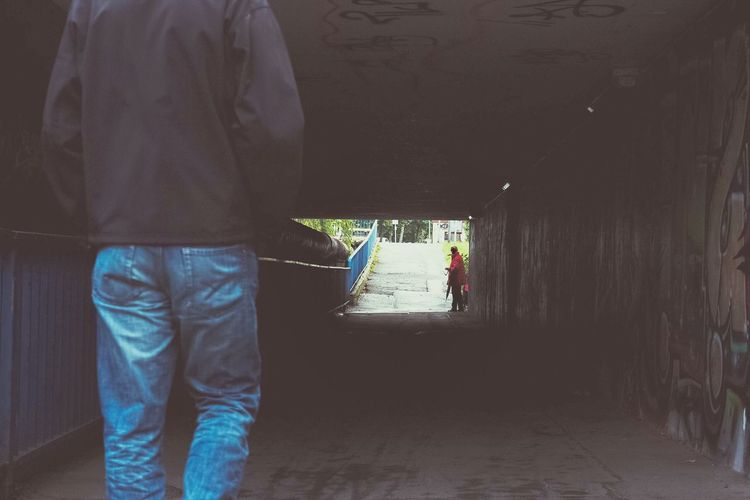 Dangerous? Walking Rear View Person On The Move Entrance Tunnel City Life Security Danger Tricky Situation Prejudice Prejudging
