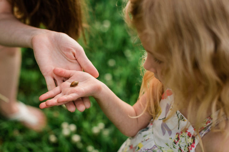 Close-up of hands holding girl
