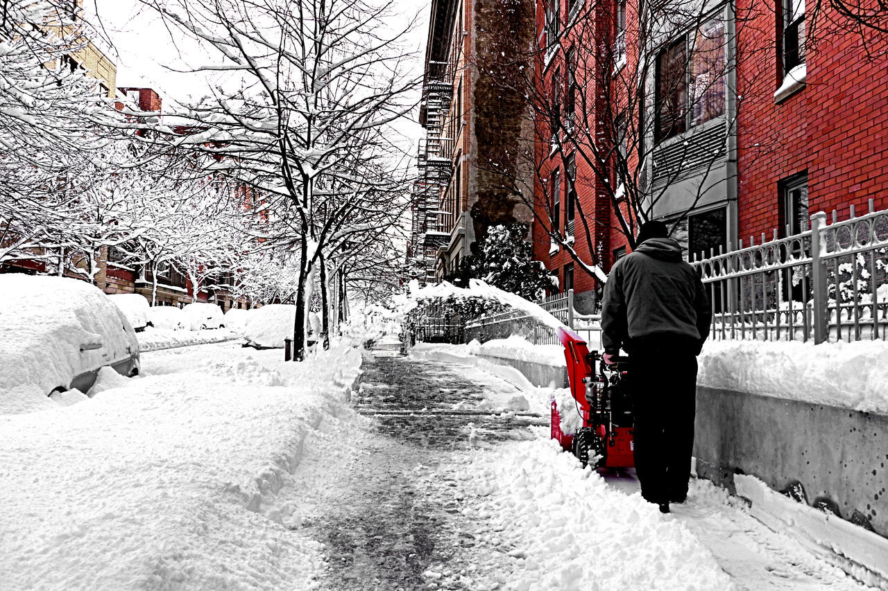 snow, winter, cold temperature, rear view, weather, real people, built structure, architecture, walking, building exterior, warm clothing, full length, day, nature, men, frozen, one person, snowing, tree, outdoors, bare tree, beauty in nature, one man only, adult, only men, people, adults only