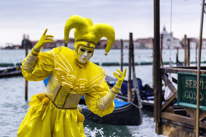 Carnival in Venice 2017 Carnival Disguise Fun Tradition Arts Culture And Entertainment Carnival - Celebration Event Costume Costumes Gondola - Traditional Boat Leisure Activity Lifestyles Looking At Camera Mask Mask - Disguise Nautical Vessel One Person Outdoors Portrait Standing Venetian Mask Venice Water Yellow The Portraitist - 2018 EyeEm Awards