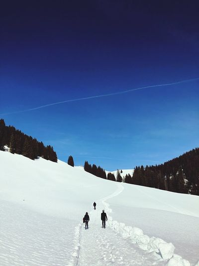 People walking on snow covered mountain against blue sky