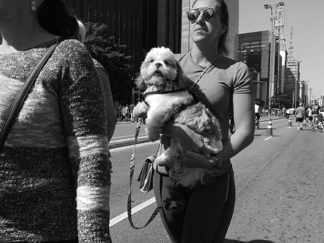 """Best friend"". July, 2017 Streetphotography Dog Pets Real People One Animal Domestic Animals Lifestyles Outdoors Day Women One Person Mammal Friendship City Young Women Young Adult Adult Adults Only People"