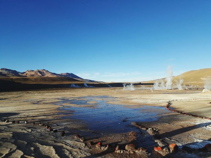Atacama Desert Sanpedrodeatacama EyeEm Selects Light Springwater  Bluesky Day Sun Mountain Water Clear Sky Desert Blue Arid Climate Sand Dune Sky Landscape Geyser Geology Erupting Physical Geography Eroded Volcanic Landscape Hot Spring Volcanic Activity
