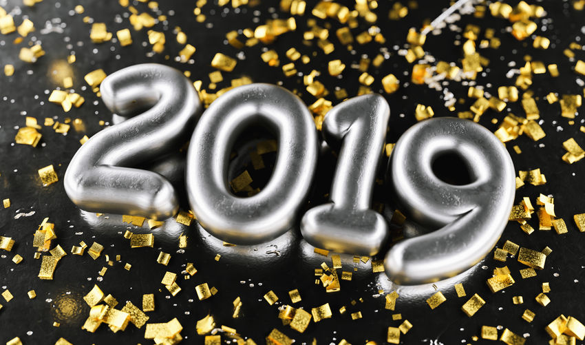 New year 2019 celebration. Silver numeral 2019 and Gold confetti on black luxery background. New Year's Eve, concept image Yellow Year Western Script Typography Text Symbol Sweet Food Still Life Silvester Silver  Shiny Shine Shape Selective Focus Season  Sale Promotion Present Offer Numeral Number No People New Metallic Luxury Lettering Large Group Of Objects Isolated Indoors  Holiday High Angle View Happy Greeting Golden Gold Colored Gold Glossy Glitter Food And Drink Food Font Flying Fireworks Festive Event Eve Discount Connection Congratulations Confetti Communication Close-up Christmas Champagne Celebration Celebrate Calligraphy Calendar Black Banner Balloon Backgrounds Background Abundance 2019 2018