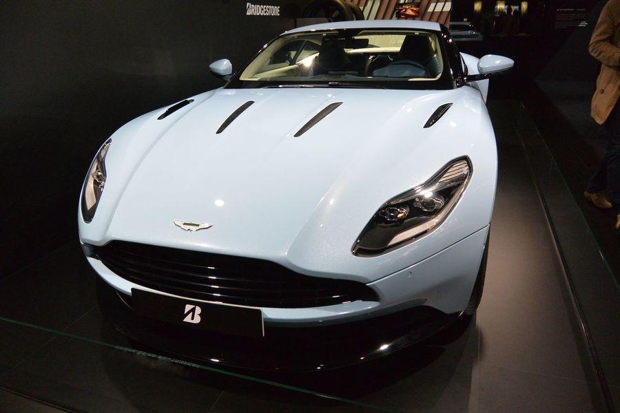 Aston Martin Aston Martin DB12 Bleu Pastel British Car Car Indoors  Paris International Motor Show 2016 Pastel Blue PIMS2016 Racecar Voiture De Sport
