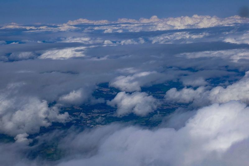 Seeing above the clouds is such a marvellous experience but I much prefer my feet on the ground. Cloud - Sky Environment Sky Scenics - Nature Nature Beauty In Nature Cloudscape Aerial View Tranquil Scene Landscape No People Tranquility Land Outdoors Dramatic Sky Day Atmosphere Plane Idyllic