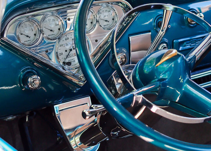 cockpit Oldtimer Steering Wheel Close-up Transportation Car Blue Technology Motor Vehicle Metal Vintage Car Retro Styled Day High Angle View Silver Colored Chrome No People Backgrounds