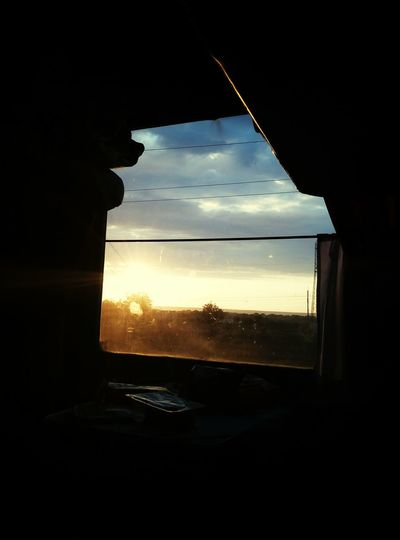Window Train Sunset