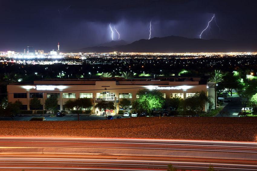 Summer thunderstorm over the Las Vegas valley Stratosphere Tower Vegas  Cityscape Light Trail Lightning Night Thunderstorm